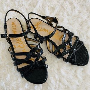 Sam Edelman black faux leather sandals size 6